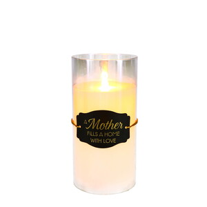 "Mother by Candle Decor - 7"" Clear Luster Realistic Flame Candle"