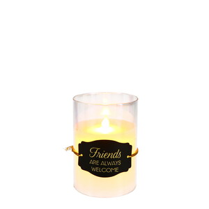 "Friends by Candle Decor - 5"" Clear Luster Realistic Flame Candle"