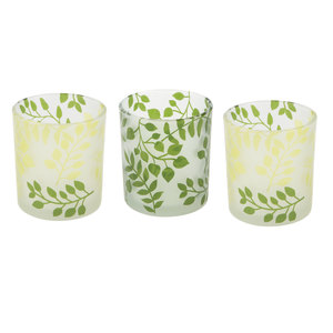Green Fern by Candle Decor - 3 Assorted Votive Holders