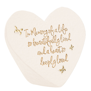 "In Memory by Forever in our Hearts - 3.5"" x 3"" Heart Memorial Stone"