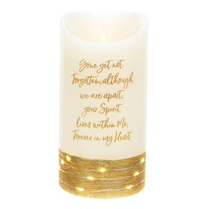 "Forever by Forever in our Hearts - 3.5"" x 7"" Realistic Flame LED Lit Candle"