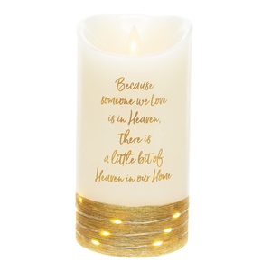 "Heaven by Forever in our Hearts - 3.5"" x 7"" Realistic Flame LED Lit Candle"
