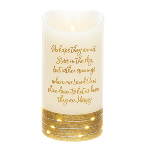 "Stars by Forever in our Hearts - 3.5"" x 7"" Realistic Flame LED Lit Candle"