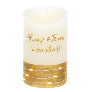 "Always & Forever by Forever in our Hearts - 3"" x 5"" Realistic Flame LED Lit Candle"
