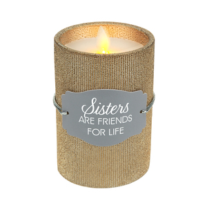 "Sister by Candle Decor - 4.75"" Bronze Glitter Realistic Flame Candle"